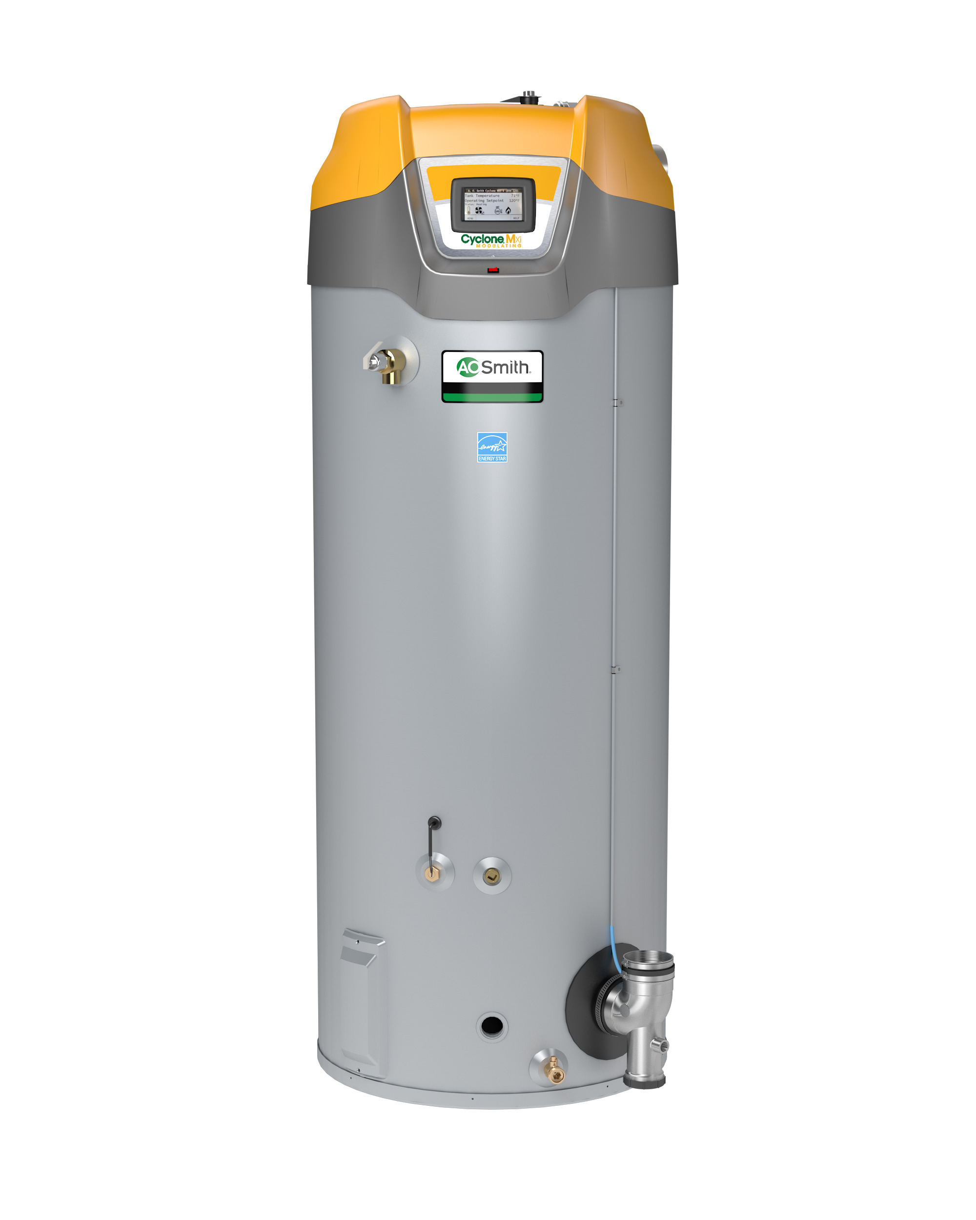 AO SMITH BTH-120A-LP: 60 GALLON, 125,000-BTU, UP TO 95% THERMAL EFFICIENCY, ASME, 3inch VENT, LP (LIQUID PROPANE) CYCLONE Mxi MODULATING COMMERCIAL GAS WATER HEATER