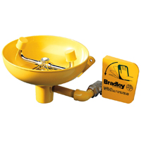 BRADLEY S19-220: EMERGENCY EYE WASH STATION, WALL-MOUNTED, 10inch DIAMETER PLASTIC YELLOW BOWL
