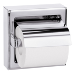 BRADLEY 5106-000000: BX, SURFACE MOUNT, WITH HOOD, BRIGHT POLISH, SINGLE ROLL TOILET TISSUE HOLDER