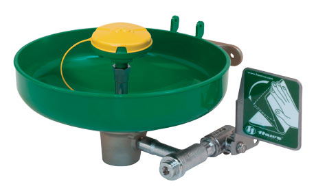 HAWS 7260B-7270B: AXION MSR EMERGENCY EYE WASH/FACE WASH, WALL MOUNTED WITH BRACKET, GREEN PLASTIC BOWL, SHIP NEXT BUSINESS DAY