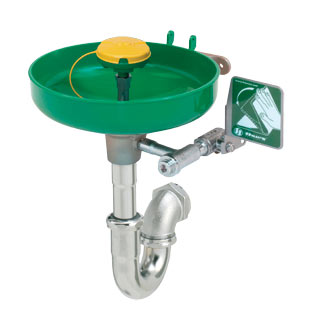HAWS 7260BT-7270BT: AXION MSR EMERGENCY EYE WASH/FACE WASH, WALL MOUNTED WITH BRACKET AND TRAP, GREEN PLASTIC BOWL, SHIP NEXT BUSINESS DAY