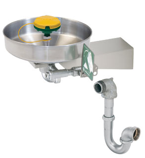 HAWS 7360BTWC: AXION MSR EMERGENCY EYE WASH/FACE WASH, WALL MOUNTED WITH BRACKET AND TRAP, BARRIER FREE, STAINLESS STEEL BOWL