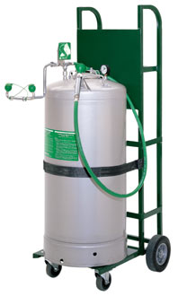 HAWS 7601.37: STAINLESS STEEL PORTABLE - ASME RATED TANK EYE WASH WITH BODY SPRAY, 37-GALLON, ABS EYE WASH HEADS WITH .25 GPM, (2) FLOW CONTROLS AND DUST COVERS (LESS CART)
