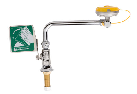 HAWS 7612LH: AXION MSR EMERGENCY EYE WASH STATION, DECK MOUNTED, SWING AWAY, STAINLESS STEEL EYE/';FACE WASH HEAD, LEFT HAND OPERATION