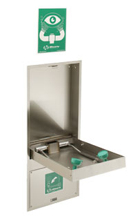 HAWS 7656WCC: AXIOM MSR EMERGENCY EYE WASH/FACE WASH, RECESSED, BARRIER FREE, PULL DOWN ACTIVATED, WITH CONTAINMENT TRAY