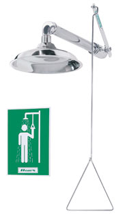 HAWS 8123: AXION MSR EMERGENCY DRENCH SHOWER, WITH STAINLESS STEEL HEAD, HORIZONTAL OR VERTICAL MOUNT