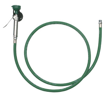 HAWS 8901B: EMERGENCY BODY SPRAY HOSE, WALL MOUNTED WITH WALL BRACKET AND 8' GREEN HOSE