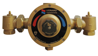 LEONARD LV-983-LF-BDT-CP: THERMOSTATIC MIXING VALVE, LEAD FREE, 1 1/4inch INLETS, 1 1/4inch OUTLET, 5 - 122 GPM, CHROME FINISH, WITH CHECKSTOPS, BALL VALVE AND OUTLET DIAL THERMOMETER