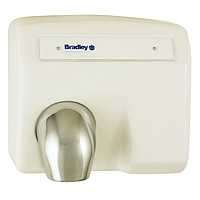 BRADLEY 2903-280000: BX, AERIX HAND DRYER, SURFACE MOUNT, SENSOR-OPERATED, FIXED CHROME NOZZLE, 120-VOLT, 1-PHASE, 16.0-AMPS, 60-HZ, WARM AIR, CAST IRON WHITE PORCELAIN