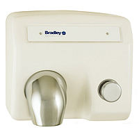 BRADLEY 2904-280000: BX, AERIX HAND DRYER, SURFACE MOUNT, PUSH BUTTON, FIXED CHROME NOZZLE, 120-VOLT, 1-PHASE, 16.0-AMPS, 60-HZ, WARM AIR, CAST IRON WHITE PORCELAIN