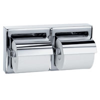 BRADLEY 5126-000000: BX, SURFACE MOUNT, WITH HOOD, BRIGHT POLISH, DOUBLE ROLL TOILET TISSUE HOLDER