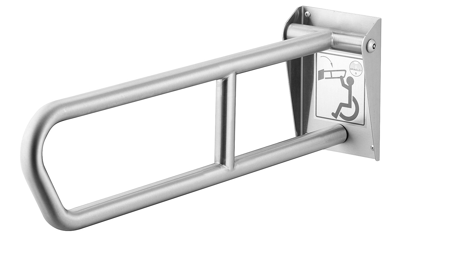BRADLEY 8372-107000: BX, 1-1/4inch X 29inch, SWING-UP, SAFETY-GRIP FINISH, STAINLESS STEEL GRAB BAR