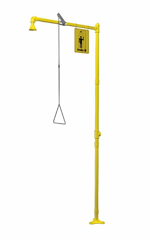 BRADLEY S19-110BFSS: EMERGENCY DRENCH SHOWER, FREE-STANDING, BARRIER-FREE, ALL STAINLESS STEEL, CORROSION-RESISTANT
