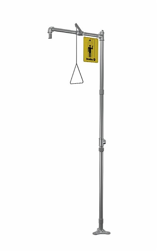 BRADLEY S19-110SS: EMERGENCY DRENCH SHOWER, FREE-STANDING, HORIZONTAL SUPPLY ALL STAINLESS STEEL, CORROSION-RESISTANT