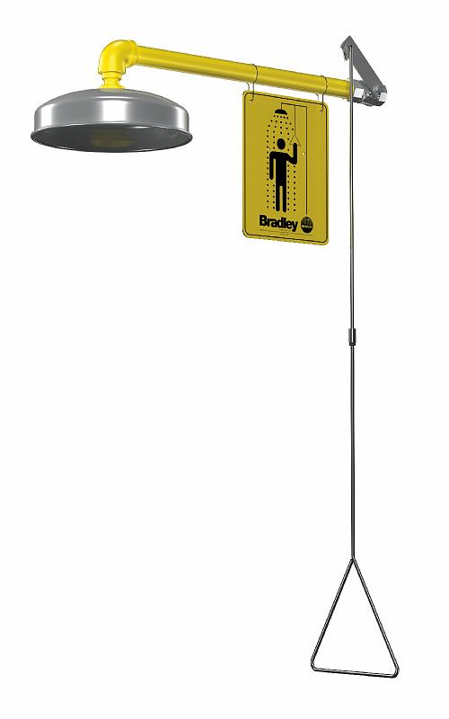 BRADLEY S19-120ABF: EMERGENCY DRENCH SHOWER, HORIZONTAL SUPPLY, BARRIER-FREE, STAINLESS STEEL SHOWERHEAD
