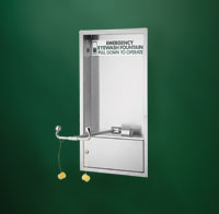 BRADLEY S19284HB: BARRIER-FREE, CABINET-MOUNTED, SWING-DOWN HALO EYE WASH STATION