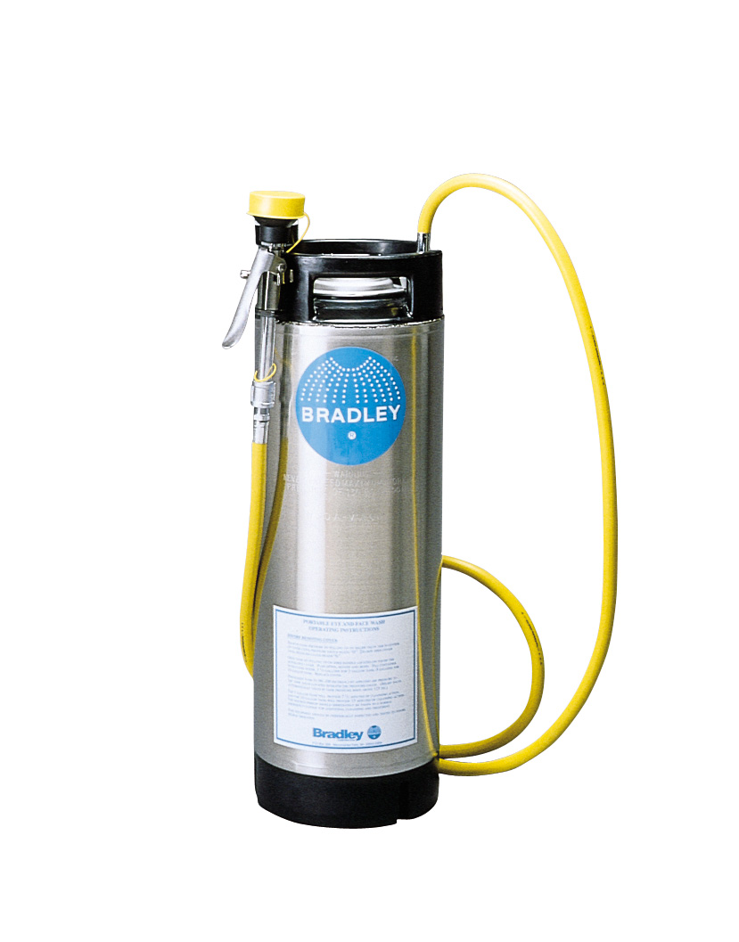 BRADLEY S19-670: PORTABLE EYE WASH STATION, 5-GALLON STAINLESS STEEL PRESSURE TANK W/8' DRENCH HOSE