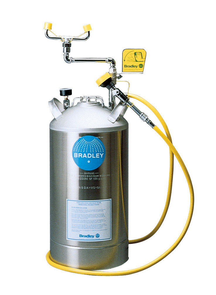 BRADLEY S19-690LHS:PORTABLE EYE WASH STATION, 10-GALLON STAINLESS STEEL PRESSURE TANK WITH EYE WASH