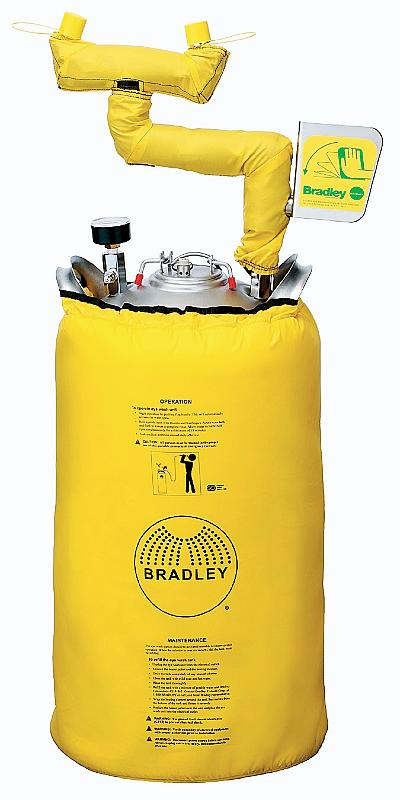 BRADLEY S19-671H: HEATED PORTABLE EYE WASH STATION, 5-GALLON STAINLESS STEEL PRESSURE TANK WITH EYE WASH